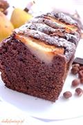 Czekoladowo-orzechowe ciasto z gruszkami